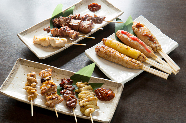 Selection of 5 grilled skewers